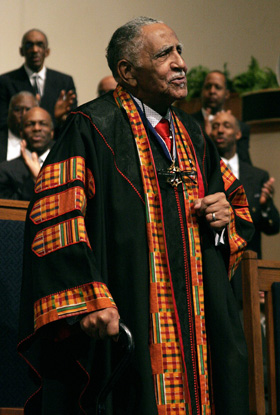 "The Rev. Joseph Lowery preaches at Cascade United Methodist Church in Atlanta on Feb. 13th, the day and place of the launching of his first book, ""Singing the Lord's Song in a Strange Land."" Photo by Kathy L. Gilbert, UM News."
