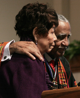 Evelyn and Joseph Lowery, married for 60 years, have been honored for their years of dedication to civil rights. A UMNS photo by Kathy L. Gilbert.