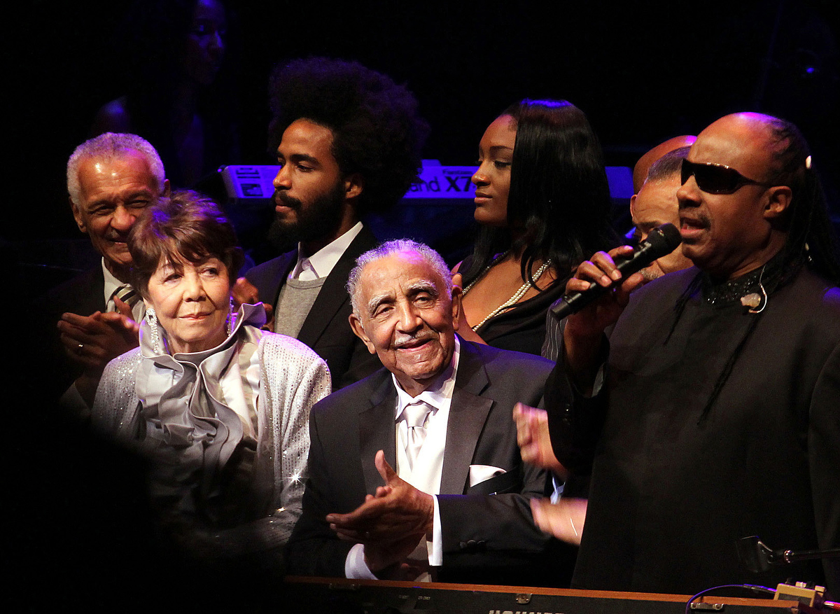 The Rev. Joseph E. Lowery (center) celebrates his 90th birthday with a song from entertainer Stevie Wonder (right) at the Atlanta Symphony Hall in October 2011. Beside Lowery is his wife Evelyn, who died in 2013. Joseph Lowery died March 27. He was 98. File photo by Kathleen Barry, UM News.
