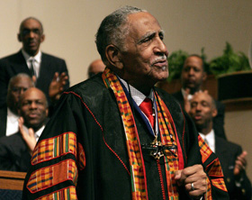 """The Rev. Joseph Lowery preaches at Cascade United Methodist Church in Atlanta on Feb. 13, 2011, the day and place of the launching of his first book, """"Singing the Lord's Song in a Strange Land."""" File photo by Kathy L. Gilbert, UM News."""