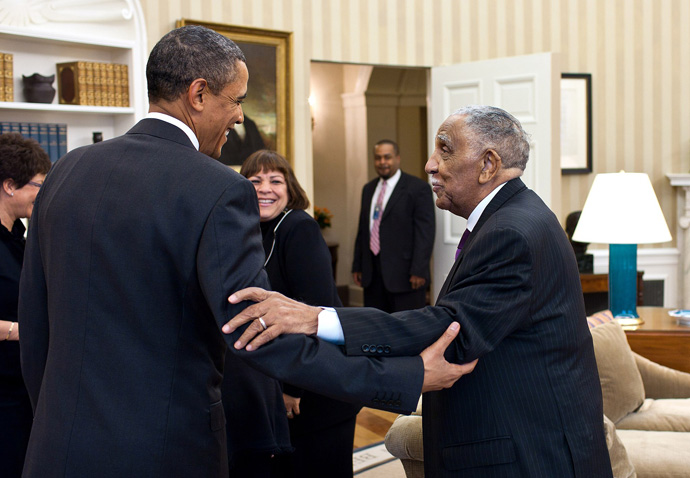 President Barack Obama (left) meets with civil rights movement leader the Rev. Joseph Lowery and his family in the Oval Office, Jan. 18, 2011. Official White House Photo by Pete Souza, public domain photo courtesy of Wikimedia Commons.