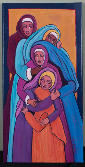"""The United Methodist Cathedral of the Rockies in Boise, Idaho, offers an annual Stations of the Cross exhibit featuring works from local artists. This year, with its building closed because of the coronavirus threat, the church created a website of images for people to visit from home, day by day. The Station 9 artwork, """"Jesus meets the women of Jerusalem,"""" is by Joye Lisk. Image courtesy of Lisk and Cathedral of the Rockies."""
