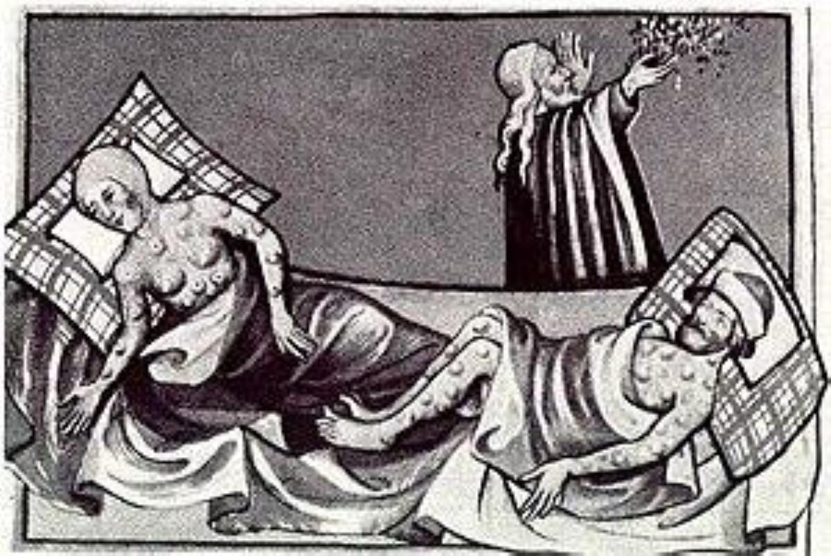 1411년 토겐부르크 성서에 그려진 흑사병 환자. 사진, 위키백과.