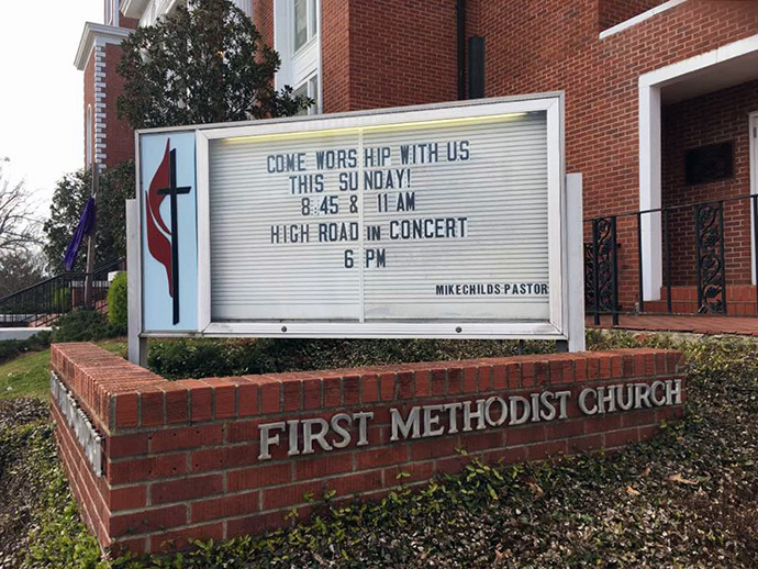 The Mississippi Conference and the congregation of First Methodist Church in Louisville, Miss., reached a settlement in a lawsuit over church property filed in 2018 after a majority of the congregation voted to withdraw from The United Methodist Church. This file photo shows the church sign in 2018. Photo courtesy of First Methodist Church.