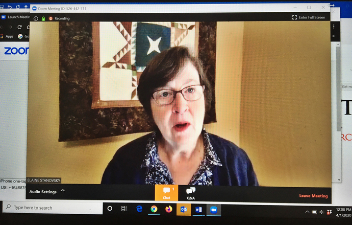 United Methodist Bishop Elaine JW Stanovsky speaks from her home during a webinar on coronavirus-related updates for the denomination's Greater Northwest Area, which includes the states of Washington, Oregon, Idaho and Alaska. Photo by Linda Bloom, UM News.