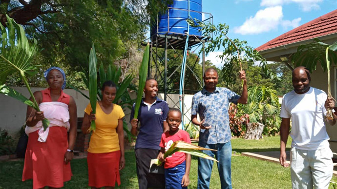The Mushambi family celebrates Palm Sunday at home in Harare, Zimbabwe, during 21 days of lockdown in the country due to the coronavirus pandemic. Submitted photo.
