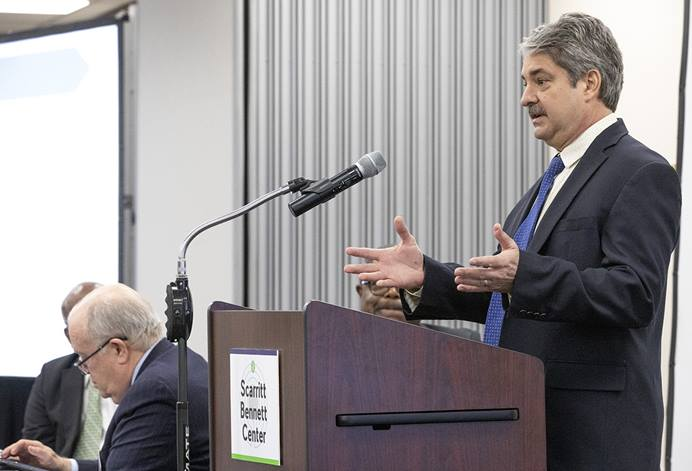 Rick King, chief financial officer of The United Methodist Church's finance agency, speaks during a board meeting in March 2020 at Scarritt Bennett Center in Nashville, Tenn. The agency is applying for a small-business loan under the U.S. CARES Act. File photo by Kathleen Barry, UM News.