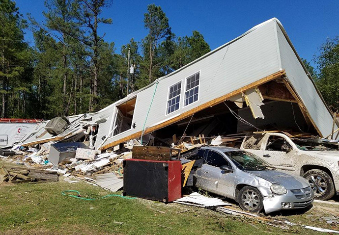 A home lies in ruins after a tornado tore through the town of North, South Carolina. Photo by Billy Robinson, SC UMVIM/Early Response Team Coordinator.