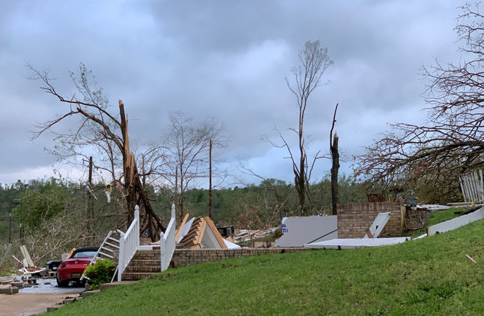 A home in Chattanooga, Tenn., is leveled after deadly tornados cut a swath across the southern U. S.  Photo by Troy Hamilton.