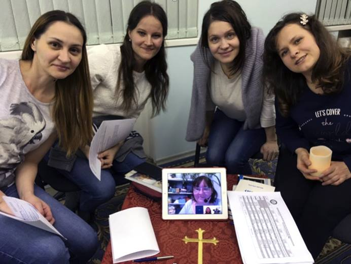 Students at Moscow Theological Seminary of The United Methodist Church have been leading online covenant groups for several years. Pictured are, from left:  Irina Rushkevich, Katerina Tokareva, Anna Klimina and Natalya Zaitseva. Photo courtesy of Sergei Nikolaev.