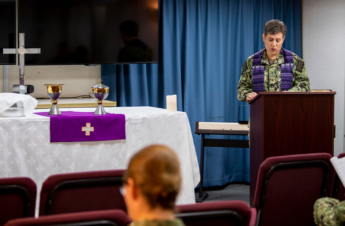 United Methodist Chaplain Lt. Cmdr. Genevieve Clark leads a worship service in the chapel aboard the hospital ship USNS Mercy, which is docked in Los Angeles. U.S. Navy photo by Mass Communication Specialist 2nd Class Ryan M. Breeden.
