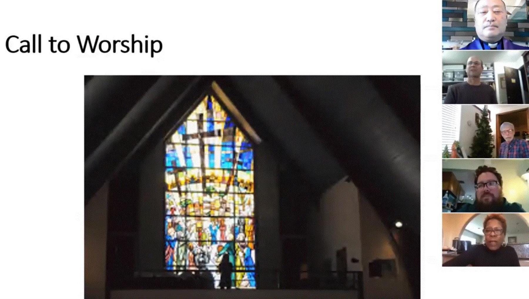 사진, 콩코드 연합감리교회의 Facebook 온라인 예배 동영상에서 캡처.