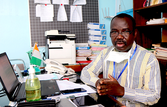 Dr. Daniel Ahui said he is afraid that if nothing is done to prepare for the coronavirus, Dabou United Methodist Hospital in Dabou, Côte d'Ivoire, will have to turn people with COVID-19 away. Photo by Isaac Broune, UM News.