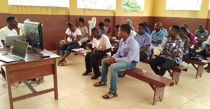 Kissy United Methodist Hospital in Freetown, Sierra Leone, holds COVID-19 training focused on identifying and caring for patients with the coronavirus. Photo courtesy of Catherine Norman.