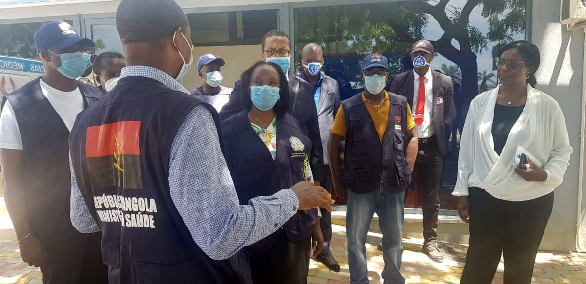Dr. Sílvia Lutucuta, minister of health for Angola (middle left), leads a delegation from the health ministry at the Cacuaco campus of the Methodist University of Angola, which will be used as a testing and treatment center for COVID-19.  Photo by Orlando da Cruz, UM News.