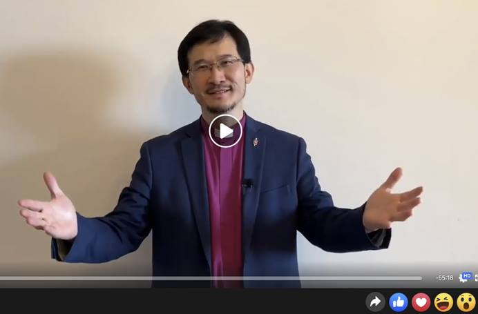 "Eurasia Area Bishop Eduard Khegay posts live greetings on his Facebook page to viewers in Russia and around the globe during the ""stay home, stay safe"" phase of the CORVID-19 social distancing. Photo courtesy of Bishop Eduard Khegay's Facebook."