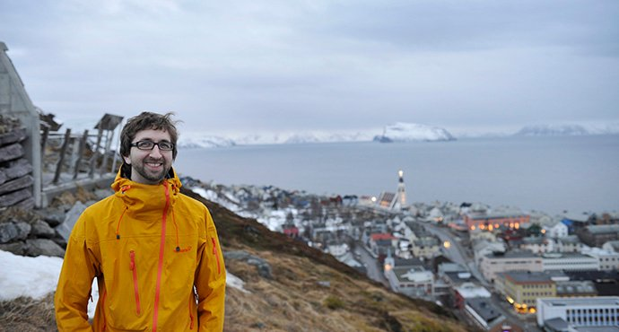 The Rev. Per Bradley said contact over the phone has been especially important to elderly members of the world's most northern United Methodist church in Hammerfest, Norway. But he also is using Zoom to create small-group meetings and other gatherings that have attracted some new people to the church. Photo by Karl Anders Ellingsen.