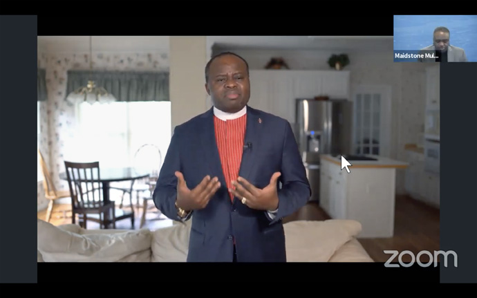 Bishop Mande Muyombo of the North Katanga Area, gives an opening devotion for the Council of Bishops at the April 29 online meeting. The prayer, one of several pre-taped videos during the live meeting, expressed the need for faithfulness during the COVID -19 pandemic and action to help those suffering from the virus. The Rev. Maidstone Mulenga, director of communications for the Council of Bishops, is seen top right. Image courtesy of the Council of Bishops via YouTube.