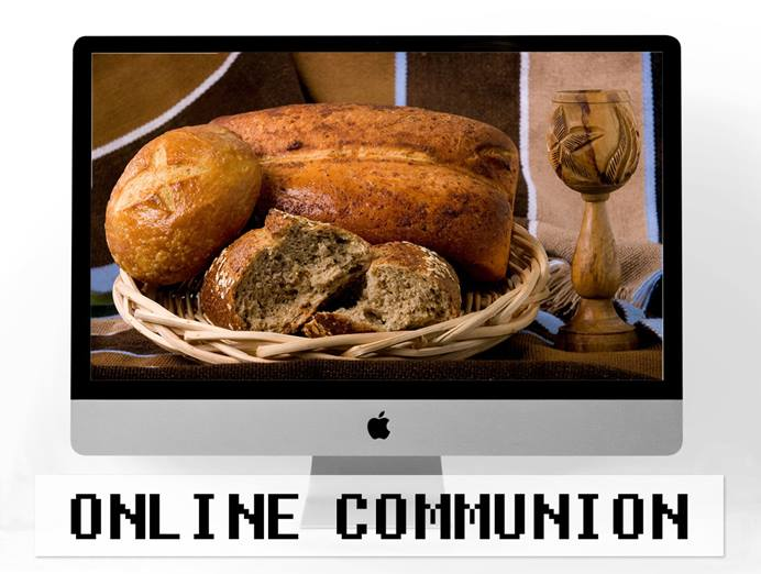 With church buildings closed due to the coronavirus pandemic, pastors and congregations are getting creative with online worship and even Holy Communion. Computer image by Pexels, courtesy of Pixabay; communion elements photo by Mike DuBose, UM News; illustration by Laurens Glass, UM News.
