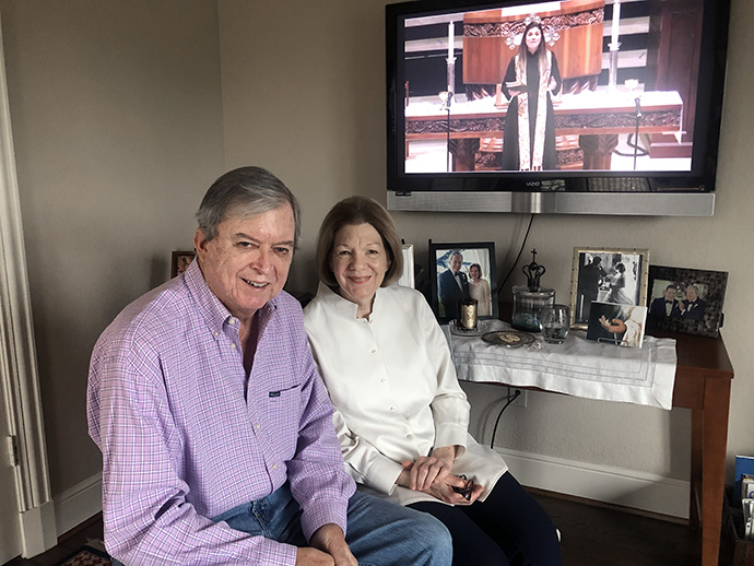 Rex and Sandy Jobe take part in an online communion service offered during the quarantine by their church, Highland Park United Methodist in Dallas. Photo by of Rex Jobe.