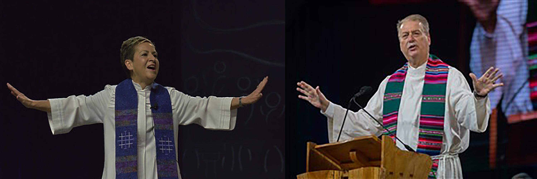 El Obispo Ken Carter del área de Florida (derecha), quien ha dirigido el Concilio de Obispos/as (COB por sus siglas en inglés) desde 2018, presidirá y ofrecerá su discurso final y entregará el mazo al final de esta reunión a la Obispa Cynthia Fierro Harvey (izquierda) del área de Luisiana. Fotos de archivo cortesía de COB y Paul Jeffrey, Noticias MU.