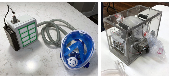 A group of about 16 men and women – engineers from Asbury United Methodist Church in Columbus, Indiana, along with other engineers – are taking on the challenge of designing and manufacturing a respirator (pictured left) and ventilator (pictured right) for use with COVID-19 patients. Though still at the testing prototypes stage, the group's goal is to provide 150 respirators and ventilators at no cost to the hospital. Photos courtesy of Asbury United Methodist Church.