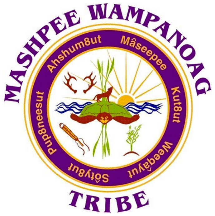 The logo for the Mashpee Wampanoag Tribe features a turtle and other elements of nature. The 2,900-member tribe has filed a preliminary injunction to prevent the Department of the Interior from revoking the reservation status of more than 300 acres of the tribe's land in Massachusetts.  The hearing date is scheduled for May 7. Logo courtesy of the Mashpee Wampanoag Tribe.