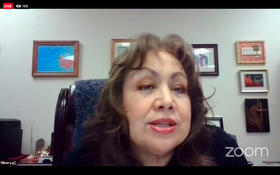 United Methodist Bishop Minerva Carcaño discusses the impact that the coronavirus has had on society's most vulnerable people during an online meeting of the denomination's Council of Bishops. Screenshot of Zoom meeting via Facebook by UM News.