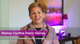 Bishop Cynthia Fierro Harvey gives a pre-recorded video address to the United Methodist Council of Bishops after she was installed as council president. Screenshot of Zoom meeting via Facebook by UM News.