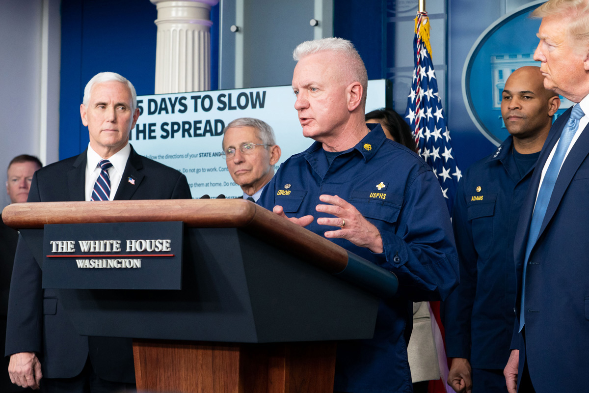 Admiral Brett Giroir, lead federal coordinator for coronavirus testing, takes his turn speaking at a March 16 White House briefing that includes President Donald Trump, Vice President Mike Pence and members of the White House coronavirus task force. During the COVID-19 pandemic, Giroir has received supportive emails and text messages from fellow members of Lovers Lane United Methodist Church in Dallas. Official White House Photo by D. Myles Cullen.