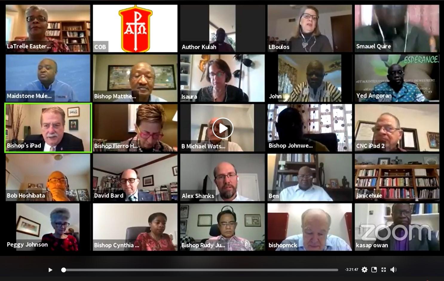 Captura de tela de uma das reuniões virtuais do Conselho dos Bispos durante a pandemia de Covid19. Foto UMCOM.