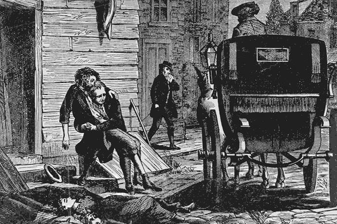 Artist interpretation of the yellow fever epidemic in Philadelphia in 1793. As the virus sickened thousands, a U.S. founding father turned to two Methodists for help. Print from Bettmann Archives.