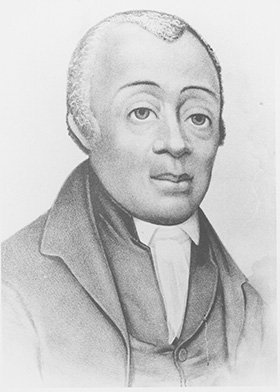 Portrait of the Bishop Richard Allen, founder of the African Methodist Episcopal Church and first black bishop in the United States. Allen, alongside his friend Absalom Jones, were frontline heroes in the 1793 yellow fever epidemic. Portrait courtesy of the United Methodist Commission on Archives and History.