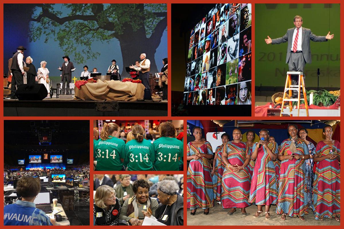 El pueblo metodista unido siempre ha sido creativo cuando se trata de reuniones, pero la forma en que las conferencias anuales conducen sus sesiones anuales en 2020 puede resultar particularmente desafiante. Fotos comenzando arriba y de izquierda a derecha: Britt Bradley de la Conferencia Anual Este de Kansas 2013 ahora Great Plains; Betty Backstrom de la Conferencia Anual Louisiana 2015; Conferencia Anual Nebraska 2015 ahora Great Plains; Gad Maiga de la Conferencia Kenia-Etiopía 2019; Conferencia Anual Oeste de Pensilvania 2013; Conferencia Especial Anual Ampliada de Nueva Jersey 2019, cortesía de Corbin Payne; Fran Walsh de la Conferencia Anual Virginia 2015. Foto-composición: Laurens Glass, Noticias MU.