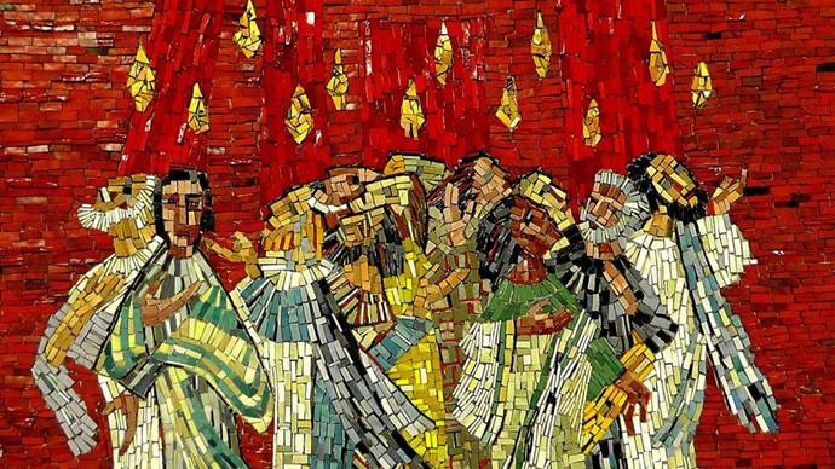 오순절 모자이크는 사도들의 머리 위에 임한 성령의 불을 형상화한다. 이미지, 홀거 슈에, 픽사베이.