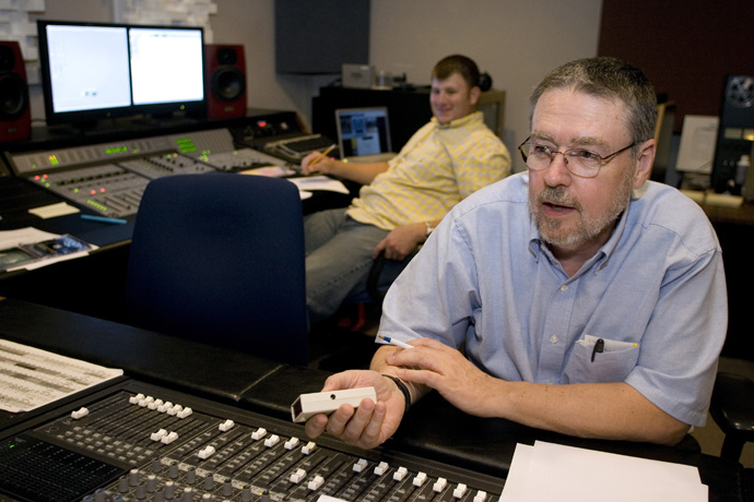 Mike Hickox (front) and Jeremy Trott record audio in the studio at United Methodist Communications in Nashville, Tenn., in 2007. File photo by Mike DuBose, United Methodist Communications.