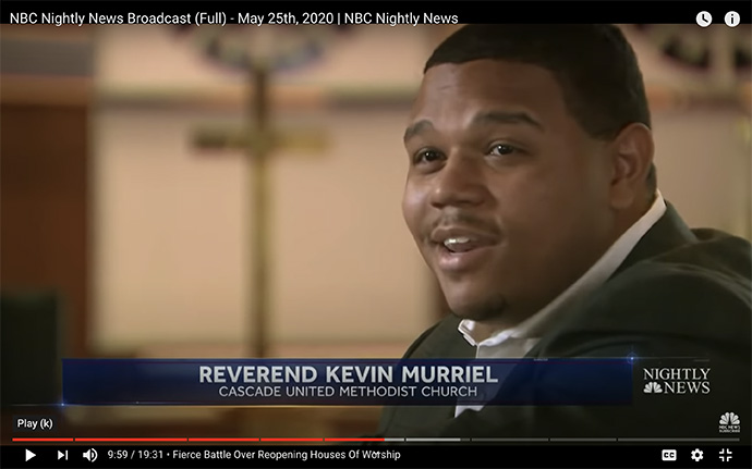 "The Rev. Kevin Murriel, senior pastor of Cascade United Methodist Church in Atlanta, tells NBC News during its May 25, 2020, broadcast that it would be ""irresponsible to open the doors of our church"" until parishioners' safety from the coronavirus can be assured. Screenshot of ""NBC Nightly News"" from YouTube."