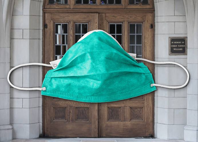 The United Methodist Church is feeling the economic impact of the COVID-19 pandemic as businesses have closed their doors and churches have suspended in-person worship, due to the health guidelines. Mask image by panos13121, courtesy of Pixabay; church doors photo by Steven Adair, courtesy of United Methodist Communications; graphic by Laurens Glass, UM News.
