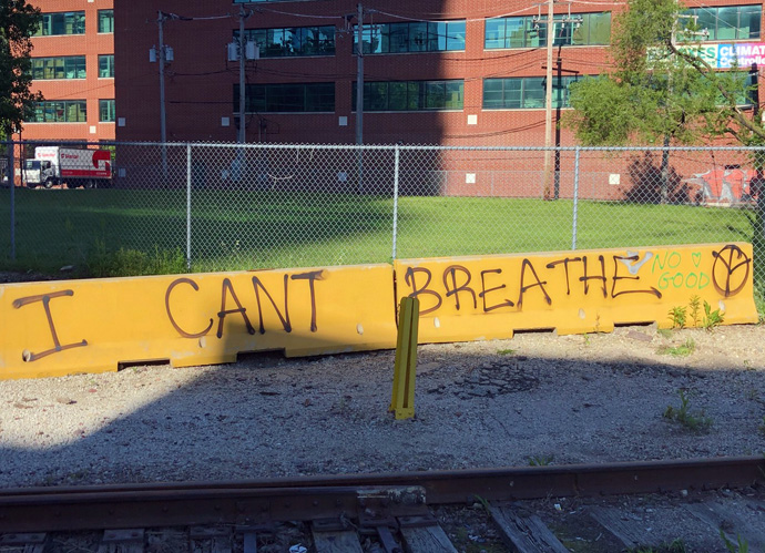 Graffiti in downtown Chicago references the final words of George Floyd, an African American man who died when a police officer in Minneapolis, Minn., knelt on Floyd's neck for over 8 minutes. The killing of Floyd, Breonna Taylor and others sparked four days and nights of protests against police brutality across the U.S. Photo by Ken Erhman, courtesy of the Northern Illinois Conference.