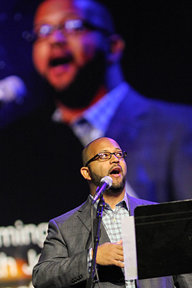 The Rev. R. DeAndre Johnson sings during morning worship at the 2016 United Methodist General Conference in Portland, Ore. He serves as pastor of music and worship life at Christ Church in Sugar Land, Texas. File photo by Maile Bradfield, UM News.