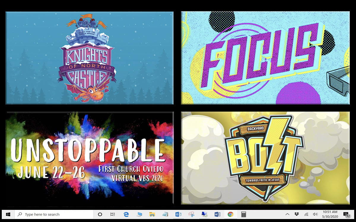 Vacation Bible school is going virtual this year, since many churches are closed or just reopening because of the coronavirus. Vacation Bible school online program logos courtesy of (clockwise, starting top left) Cokesbury, APEX UMC FAMILY, First United Methodist Church Oviedo, Go! Children's Ministry Curriculum; illustration by Laurens Glass, UM News.