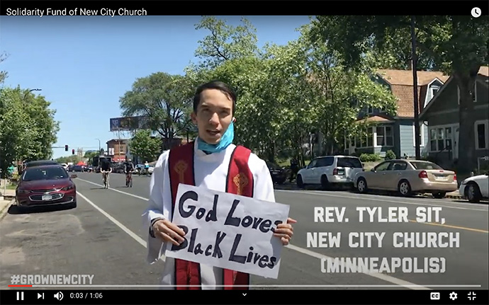 The Rev. Tyler Sit promotes the Solidarity Fund, established by New City Church in Minneapolis to support justice work in the neighborhood where George Floyd was killed. Screenshot from YouTube.