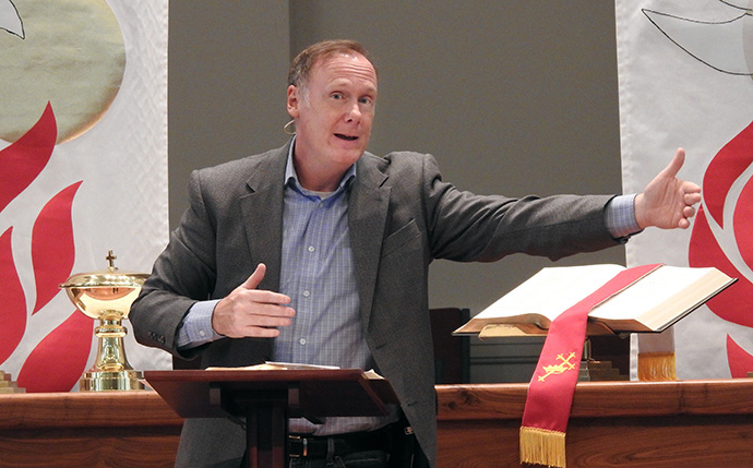 The Rev. Ed Lantz, senior pastor at First United Methodist Church of Sulphur Springs, preaches during a June 14 service. The church resumed in-person worship that day after about three months of online-only services, due to the COVID-19 outbreak. Photo by Sam Hodges, UM News.