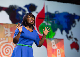 Erin Hawkins, top executive of the United Methodist Commission on Religion and Race, speaks on May 10, 2016, to the United Methodist General Conference in Portland, Ore. Hawkins was discussing intercultural competency. The commission is part of a campaign to dismantle racism. File photo by Mike DuBose, UM News.