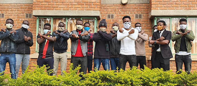 Africa University students in Mutare, Zimbabwe, express solidarity with victims of racism in the United States. The students issued a statement condemning racism in the U.S. and likening it to tribalism witnessed in parts of Africa. Photo courtesy of Fiston Okito.