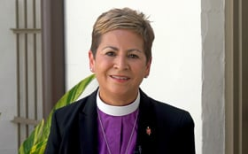 """Bishop Cynthia Harvey, president  of the Council of Bishops, appears on video as The United Methodist Church launches a churchwide program, """"Dismantling Racism: Pressing on to Freedom."""" Video image courtesy of the Louisiana Conference."""