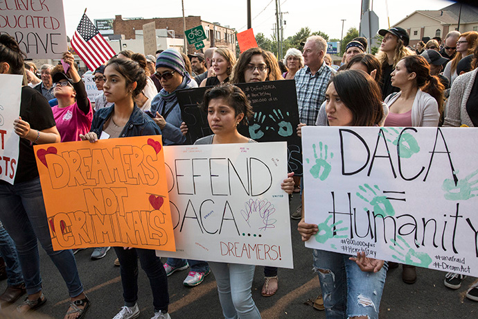 Supporters march in Nashville, Tenn., in 2017 in favor of Deferred Action for Childhood Arrivals, an Obama-era program that prevents immigrants who were brought to the U.S. as children from being deported. The Supreme Court on June 18 blocked the Trump administration's attempt to end the program. File photo by Kathleen Barry, UM News.