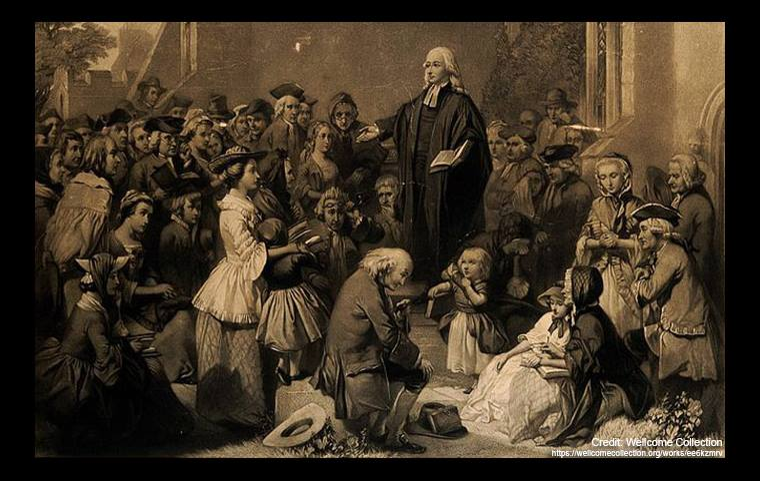 "Article Image: 존 웨슬리는 ""모든 하나님의 자녀를 사랑하자(We Love All of God's Children)""라고 설교하고 있는 모습.  출처, Wellcome Collection."