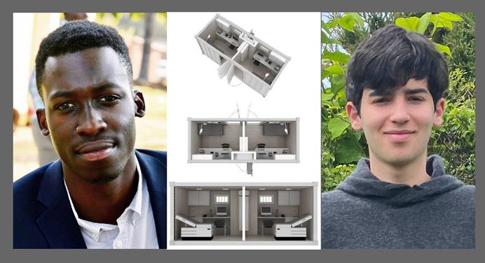 An Africa University student and a Yale student have co-founded a company they hope can provide small solar-powered clinics in African communities that have no health care. The students are Munyaradzi Chakonda (left) from Africa University and Jon Schulder (right) from Yale. Composite created by Kathleen Barry, UM News.