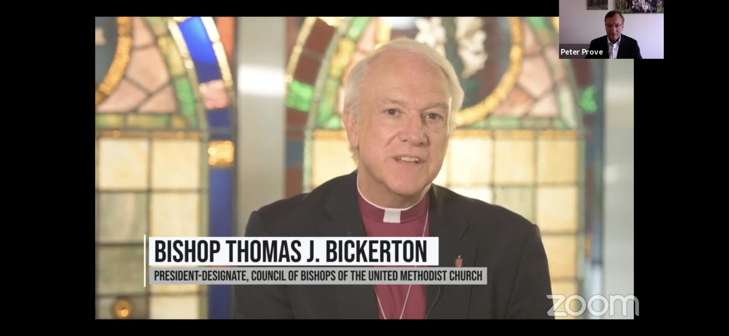 토마스 비커튼 감독이 6월 22일 세계교회협의회가 한국전쟁 70주년을 맞이하여 준비한 세계교회공동평화선언문 행사에서 기도에 앞서 메시지를 전하고 있다. 유튜브 화면 캡처.